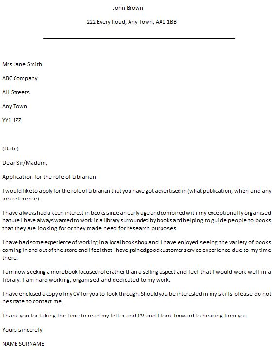 Librarian Cover Letter Example - icover.org.uk