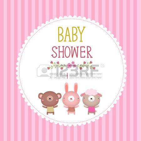 Illustration Of Baby Shower Invitation Card Template On Pink ...