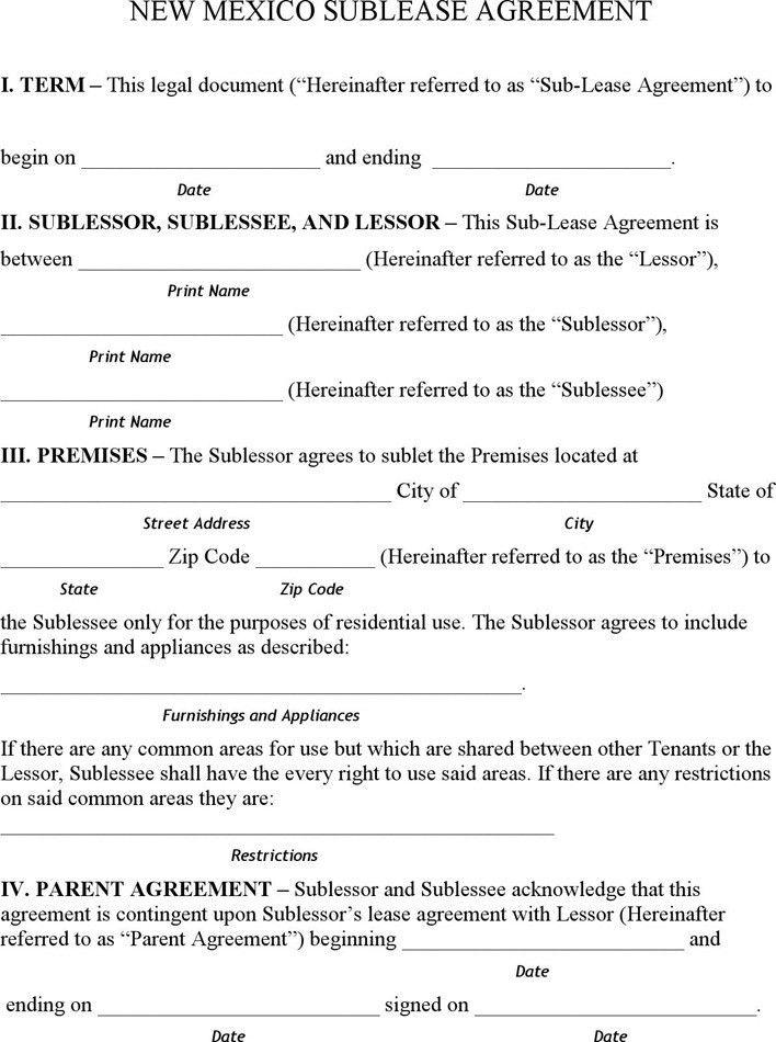 Basic Sublet Agreement | Jobs.billybullock.us
