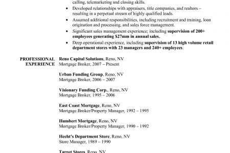 Mortgage Broker Resume Example - Reentrycorps