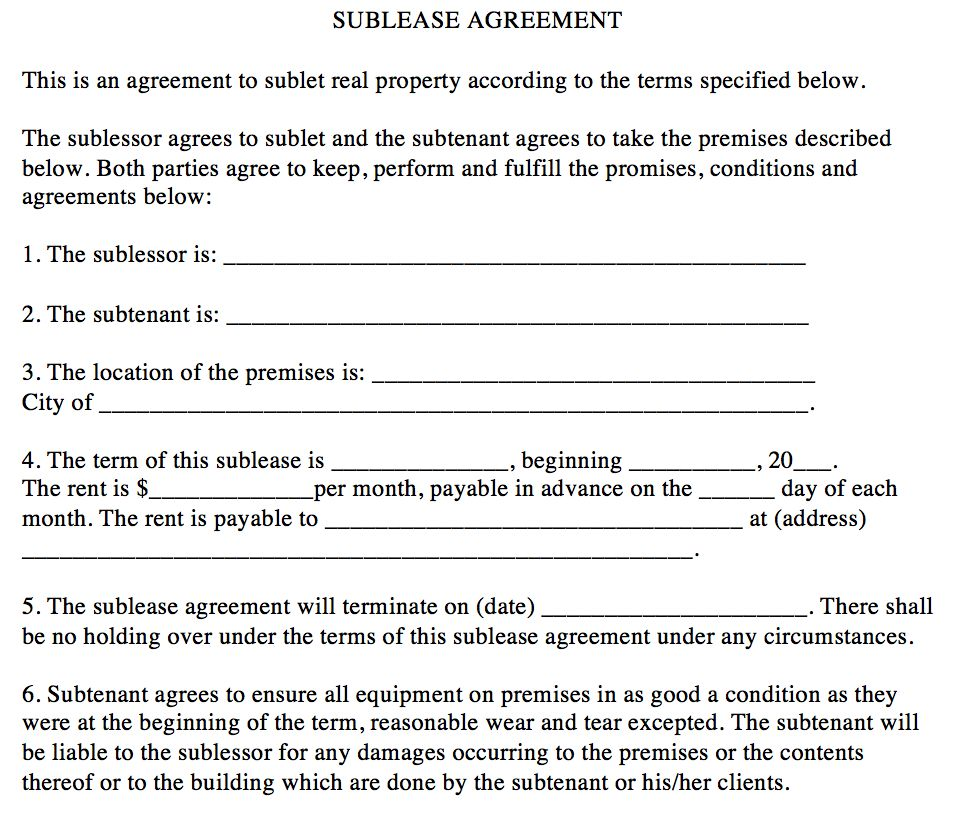 Sublease Agreement | The Association of Fitness Studios