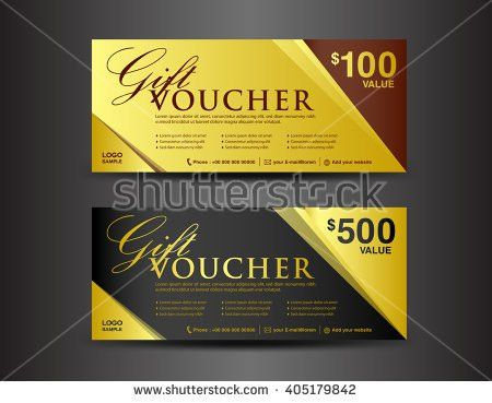 Gold Gift Voucher Template Coupon Design Stock Vector 522330961 ...