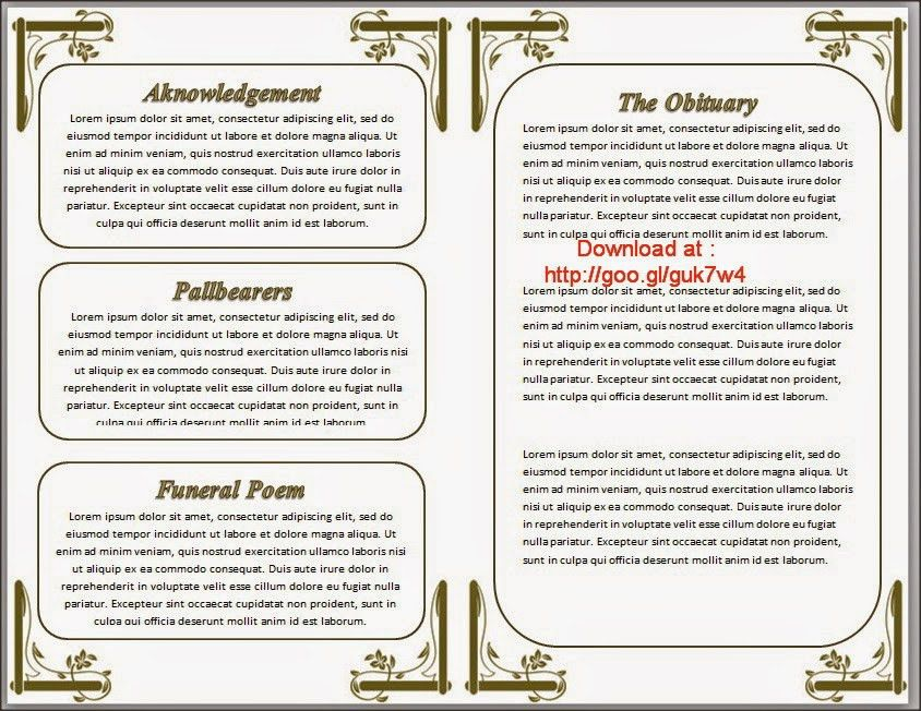 Funeral Programs Order of Service Template in Word to Download ...