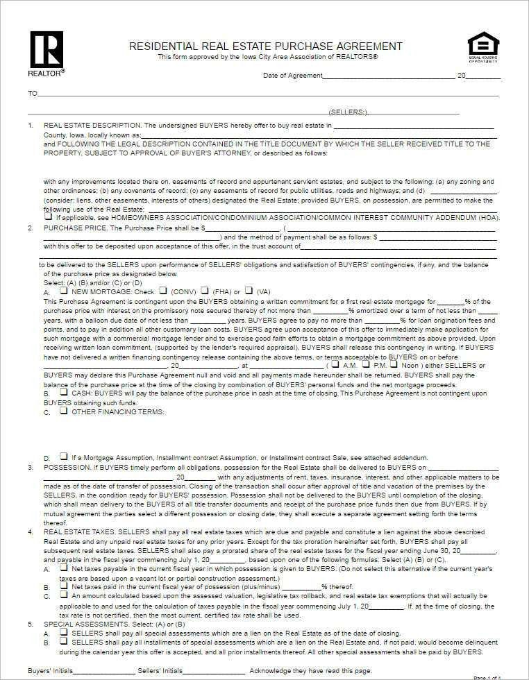 Residential Purchase Agreement Templates - Creativetemplate ...