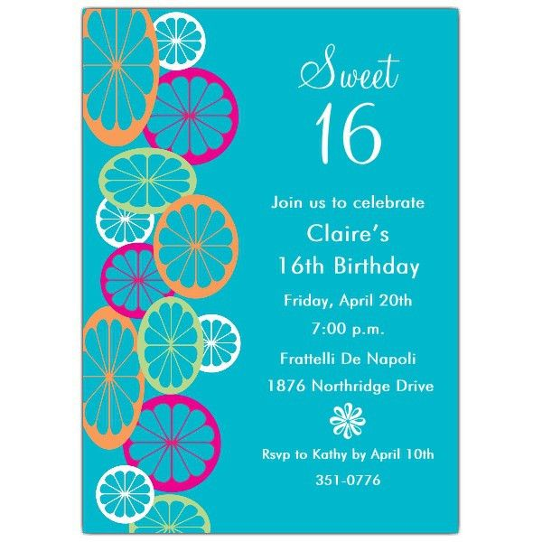 Sweet 16 Birthday Invitations   badbrya.com