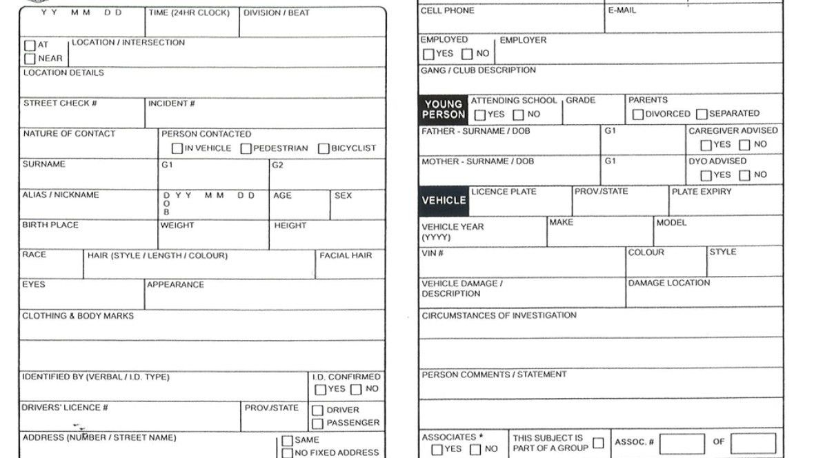Hamilton Police carding form is 'almost a carbon copy' of ...