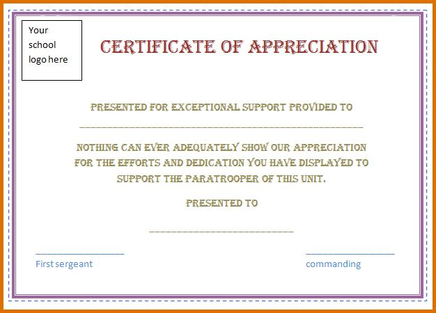 8+ certificate of appreciation samplesReference Letters Words ...