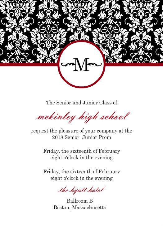 Black, Red, White Damask Prom Invitation by PurpleTrail.com ...