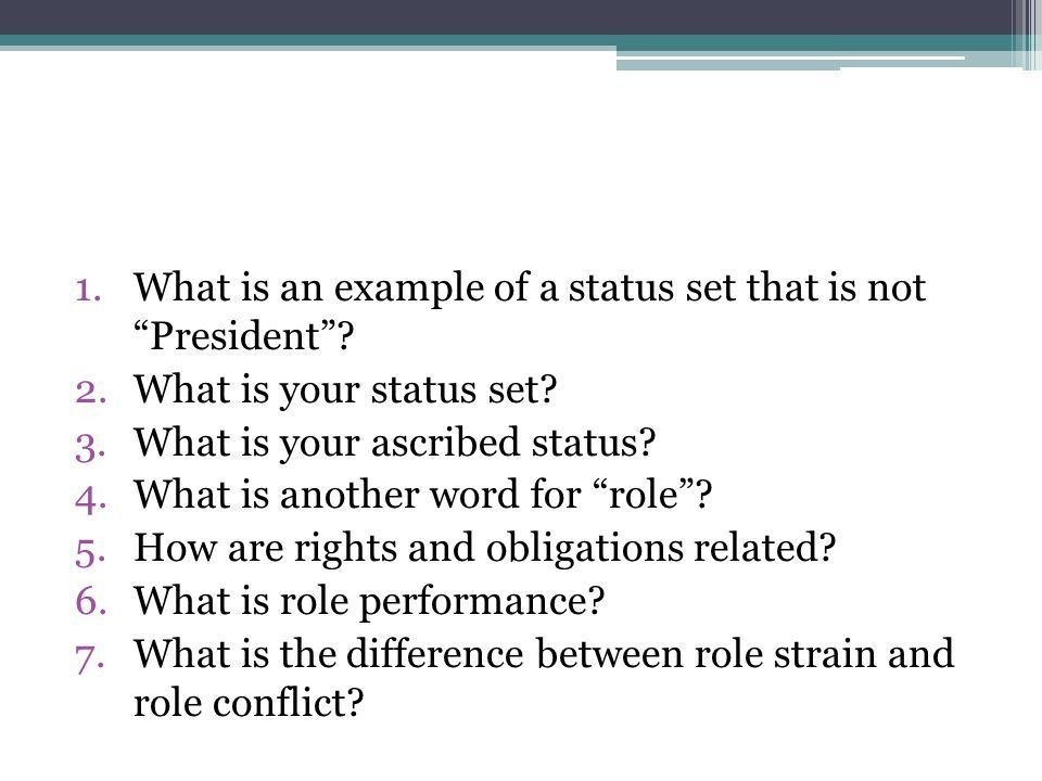 Pop Quiz. 1.What is an example of a status set that is not ...