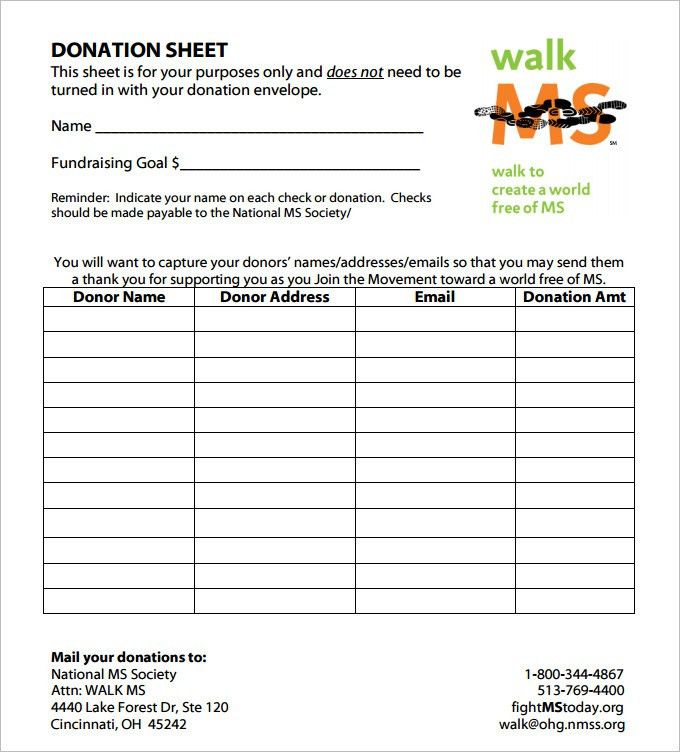 Donation Sheet Template. Nonprofit Forms | Nonprofit Templates ...