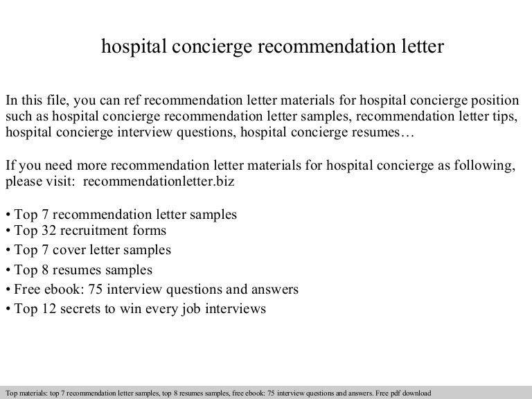 Hospital concierge recommendation letter