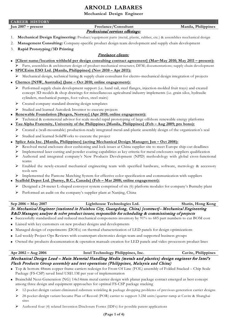 project engineer resume samples senior mechanical engineer sample ...