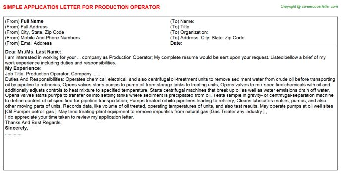 Production Operator Application Letter