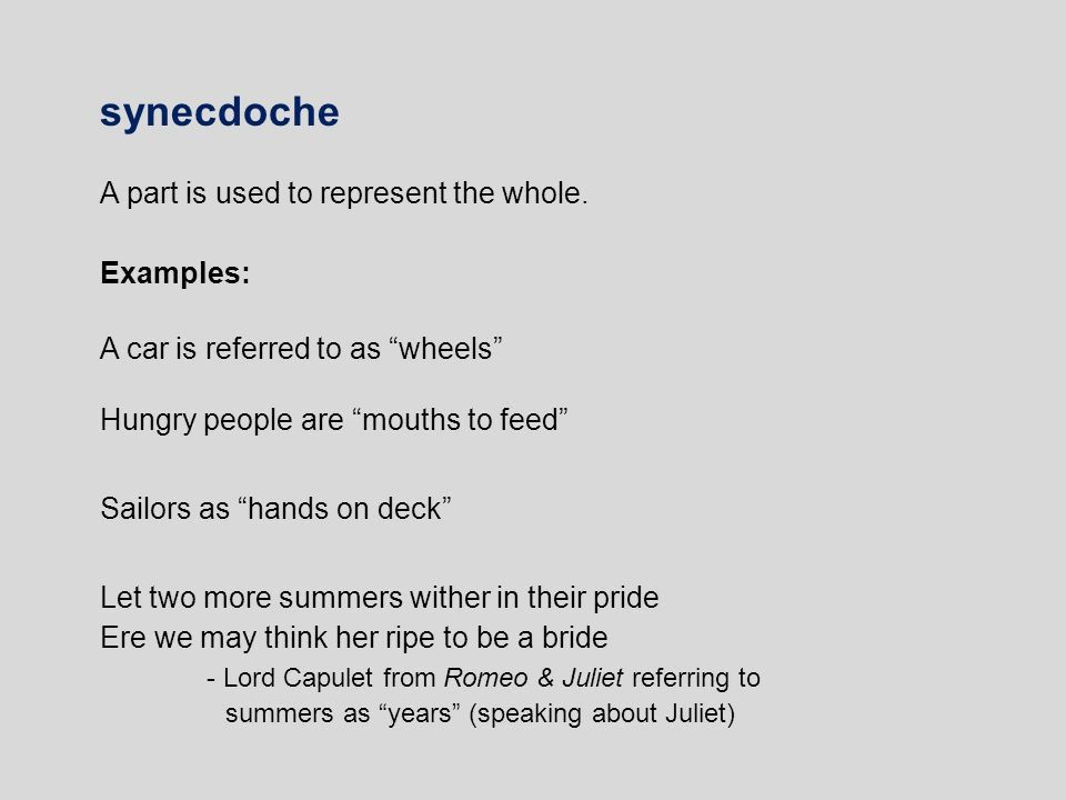 Metonymy This is the use of word for an object/concept which is ...