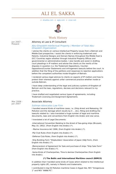 Attorney At Law Resume samples - VisualCV resume samples database