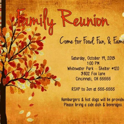 Family Reunion Fall Get Together Birthday Party Invitation Fall ...