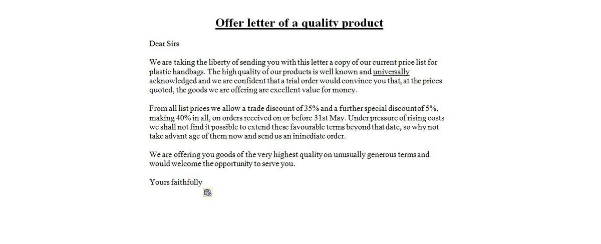 counter proposal letter sample