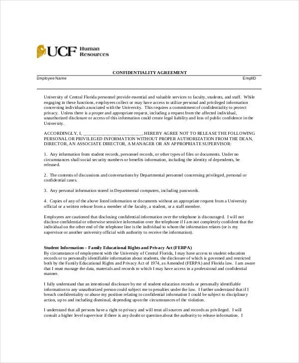 9+ Human Resources Confidentiality Agreement Templates U2013 Free .