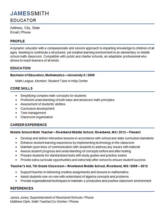 Middle School Teacher Resume Example - Mathematics