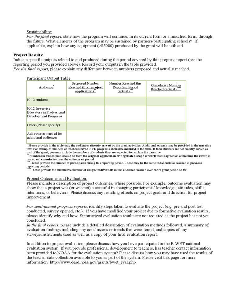 Progress Report Template - NOAA Free Download