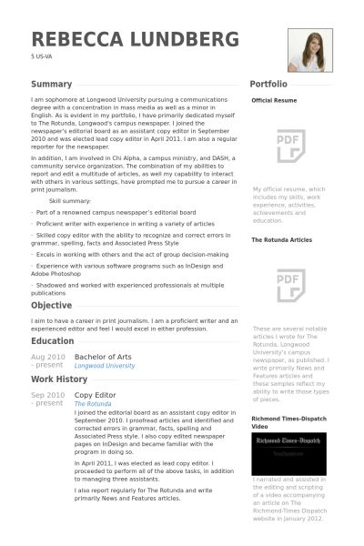 Copy Editor Resume samples - VisualCV resume samples database