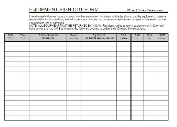 Equipment Sign Out Sheet | Free Word Templates