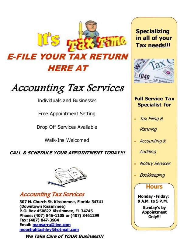 Accounting Tax Services 2014 Flyer