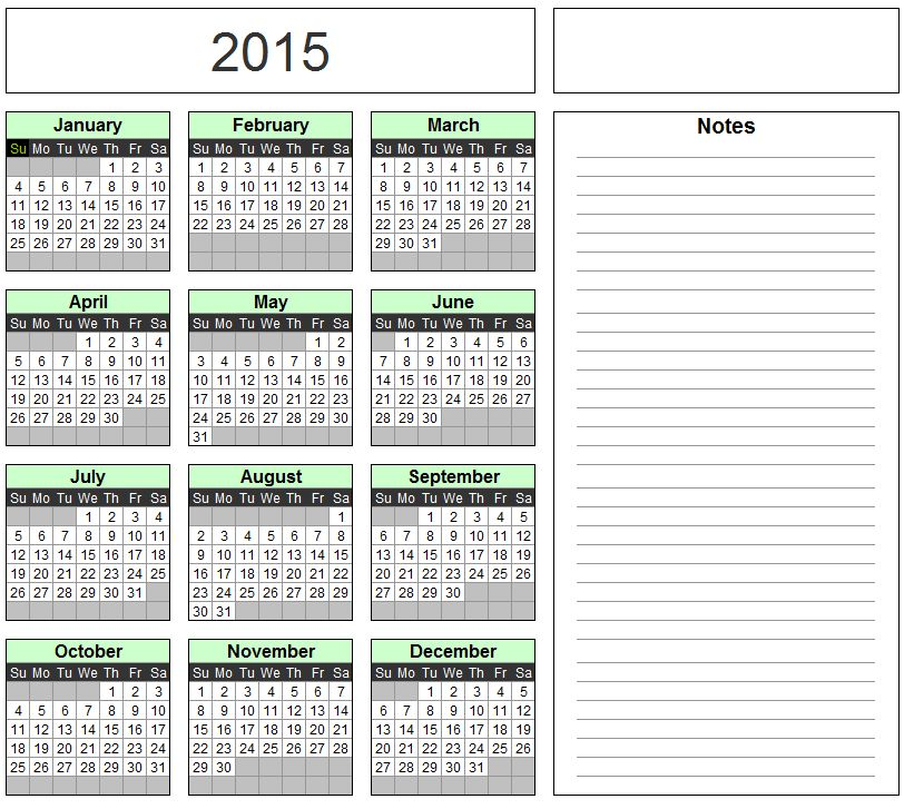 Free Excel Calendar Template - Yearly & Monthly - 2015, 2016, 2017 ...