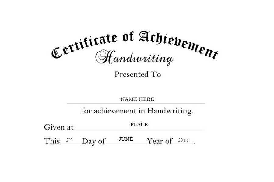 Certificate of Achievement Handwriting Free Templates Clip Art ...