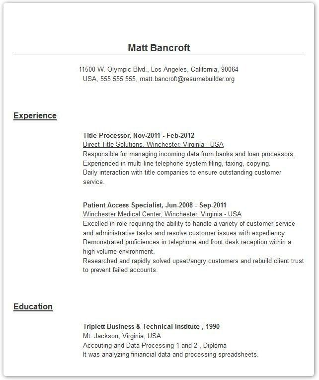 Online Resume Builder For Students - Best Resume Collection