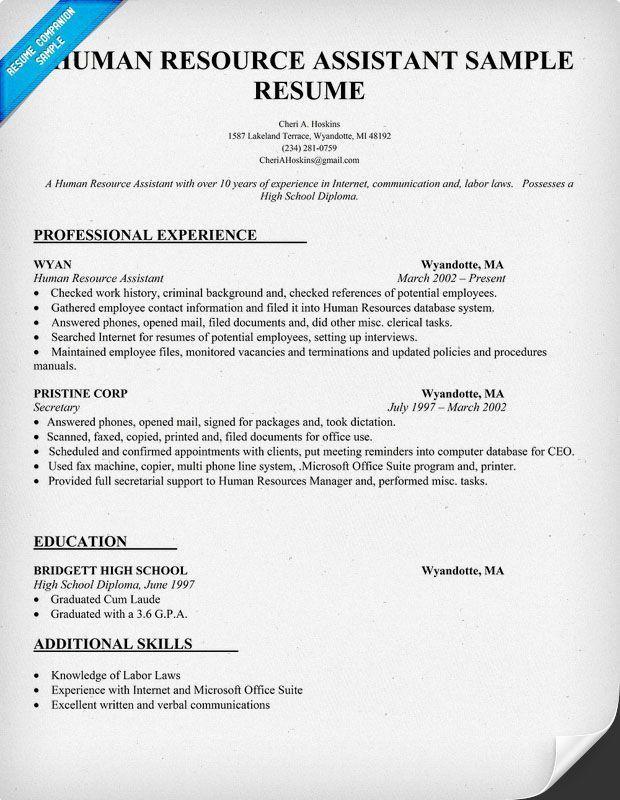 Human Resource Assistant Resume Sample (resumecompanion.com) #HR ...