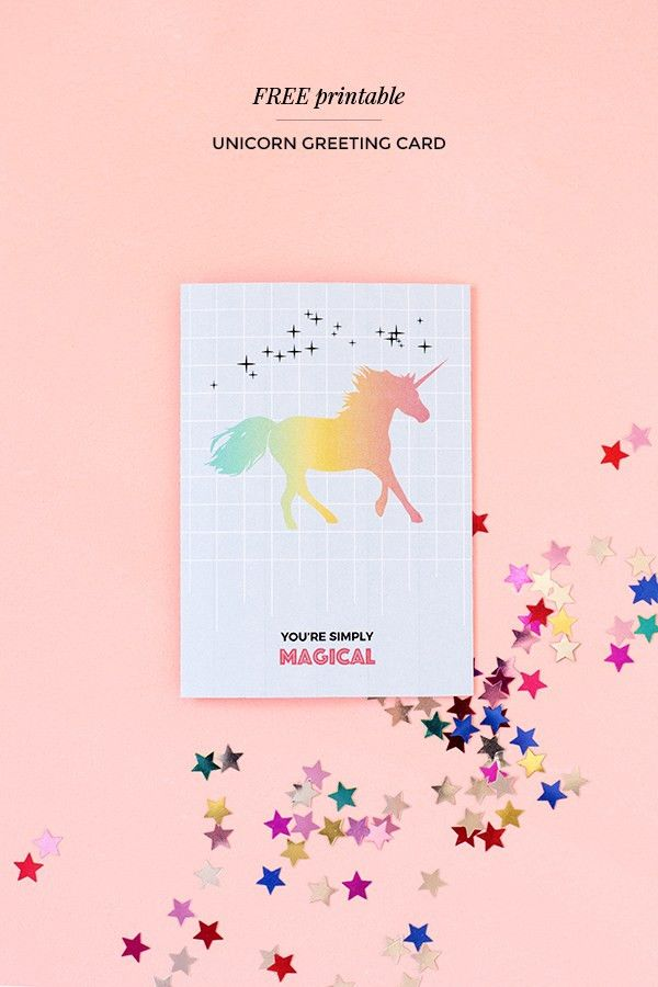 Printable unicorn greeting card – Make and Tell
