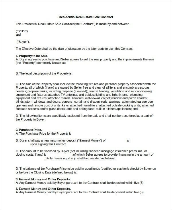 Sample Real Estate Sales Contract - 10+ Examples in PDF, Word