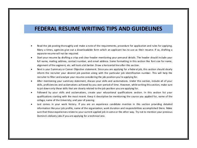 Federal resume sample pdf