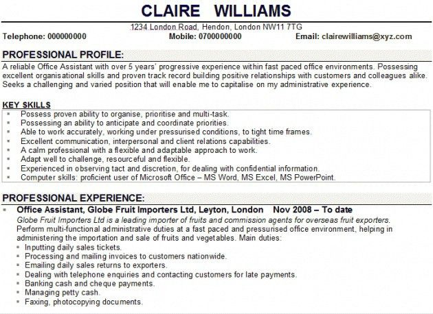 personal profile for resumes