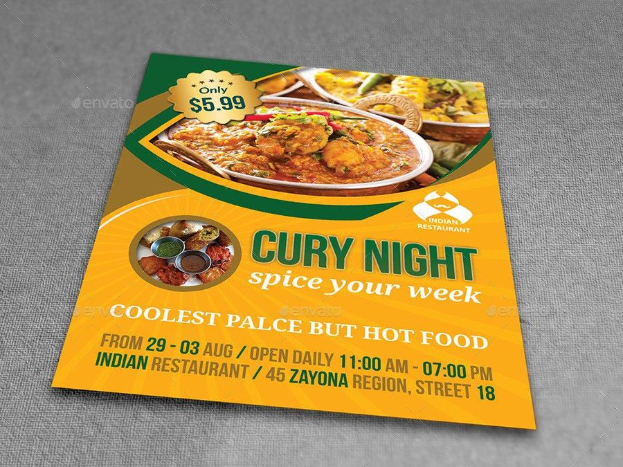 Indian Restaurant Flyer Template by OWPictures | GraphicRiver