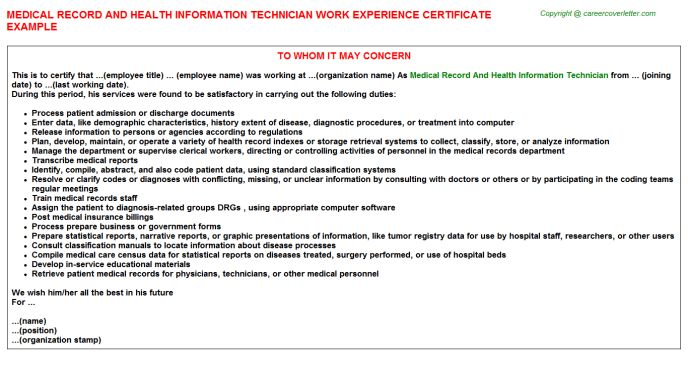 Medical Record And Health Information Technician Work Experience ...