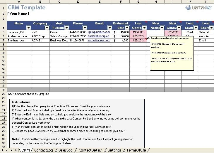 ms access crm template