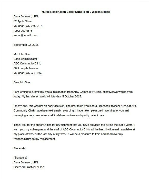 two weeks notice resignation letter sample template. resignation ...