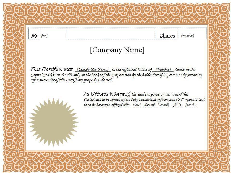 Shareholders certificate template share stock certificate stock certificate template word template design yelopaper Images