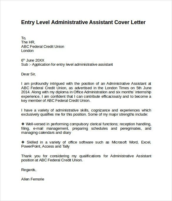 Executive Assistant Cover Letter. Cover Letter Administrative ...