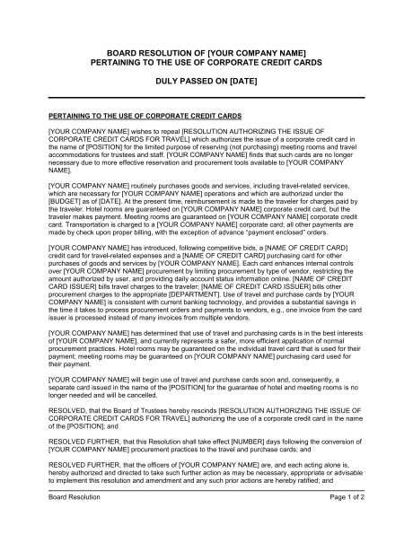 Board Resolution Pertaining to the Use of Corporate Credit Cards ...