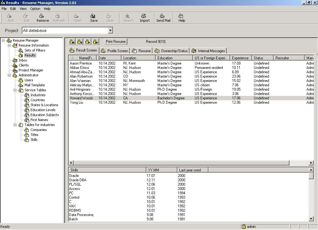 Resume Management Features of the Resume Database