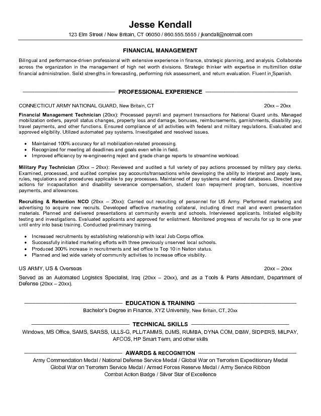 Example Finance Resume for Military Conversion- Free Sample
