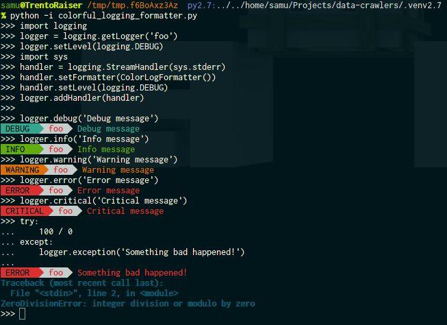 Python colorful logging example · GitHub