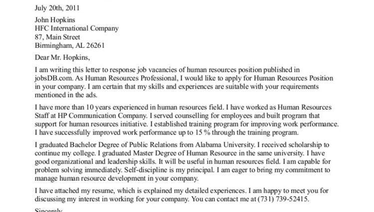 cover letter to human resources