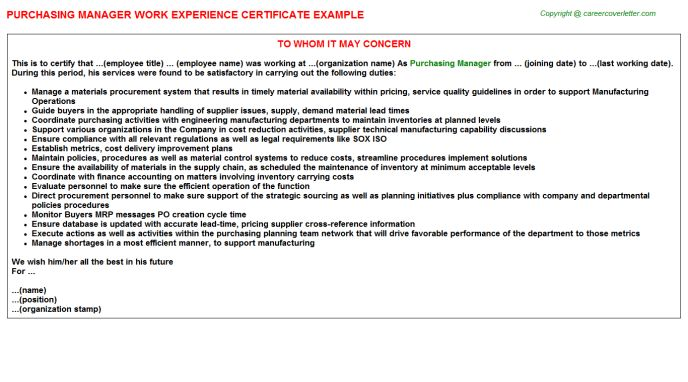 Purchasing Manager Work Experience Certificate