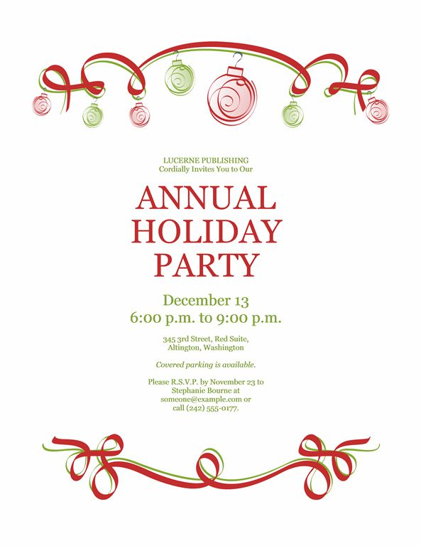 Holiday party invitation with ornaments and red ribbon (Formal ...