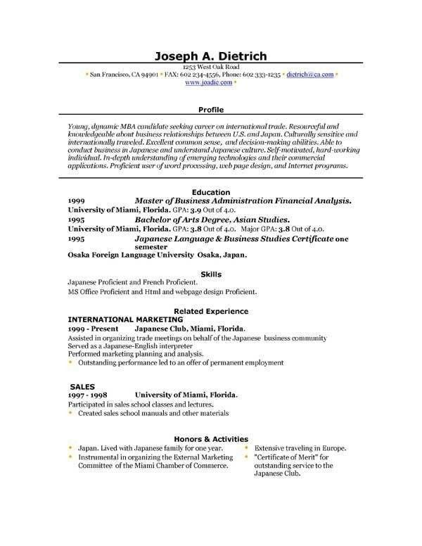 resume format for word resume format template resume format for ...
