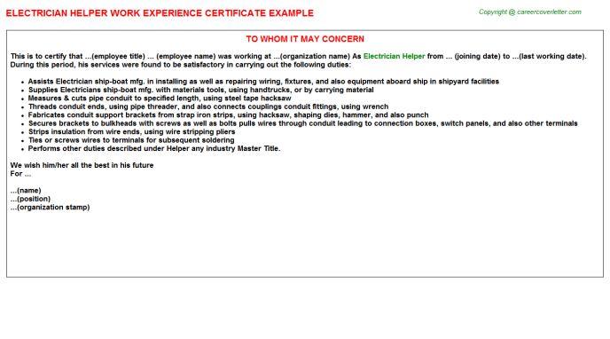 Electrician Helper Work Experience Certificate